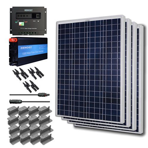 Renogy Complete Solar Panel Kit 400w Off Grid400w Solar Panel Ul Listed 2 20 Adapter Cable 1000w Inverter 30amp Solar Panels Solar Power Kits Solar Panel Kits
