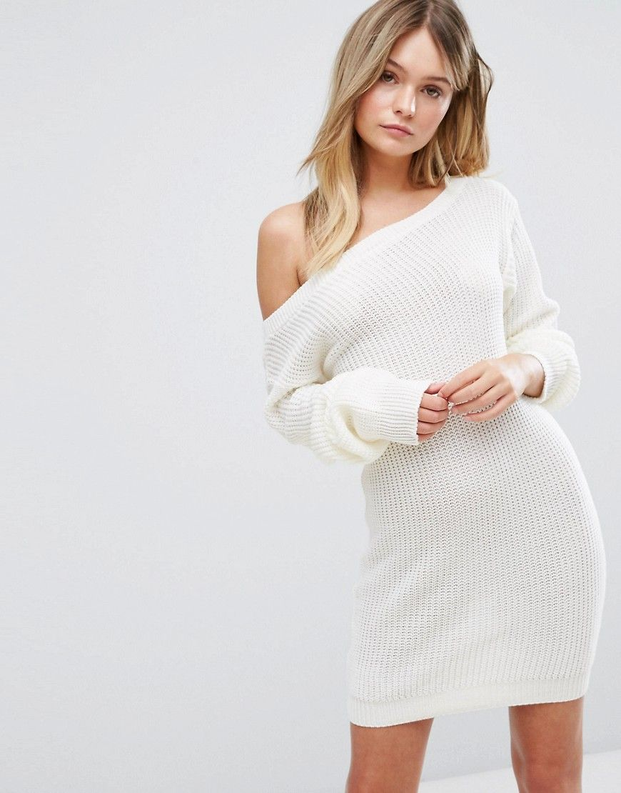 14009cb238 Boohoo Off The Shoulder Sweater Dress - Cream | Style in 2019 ...