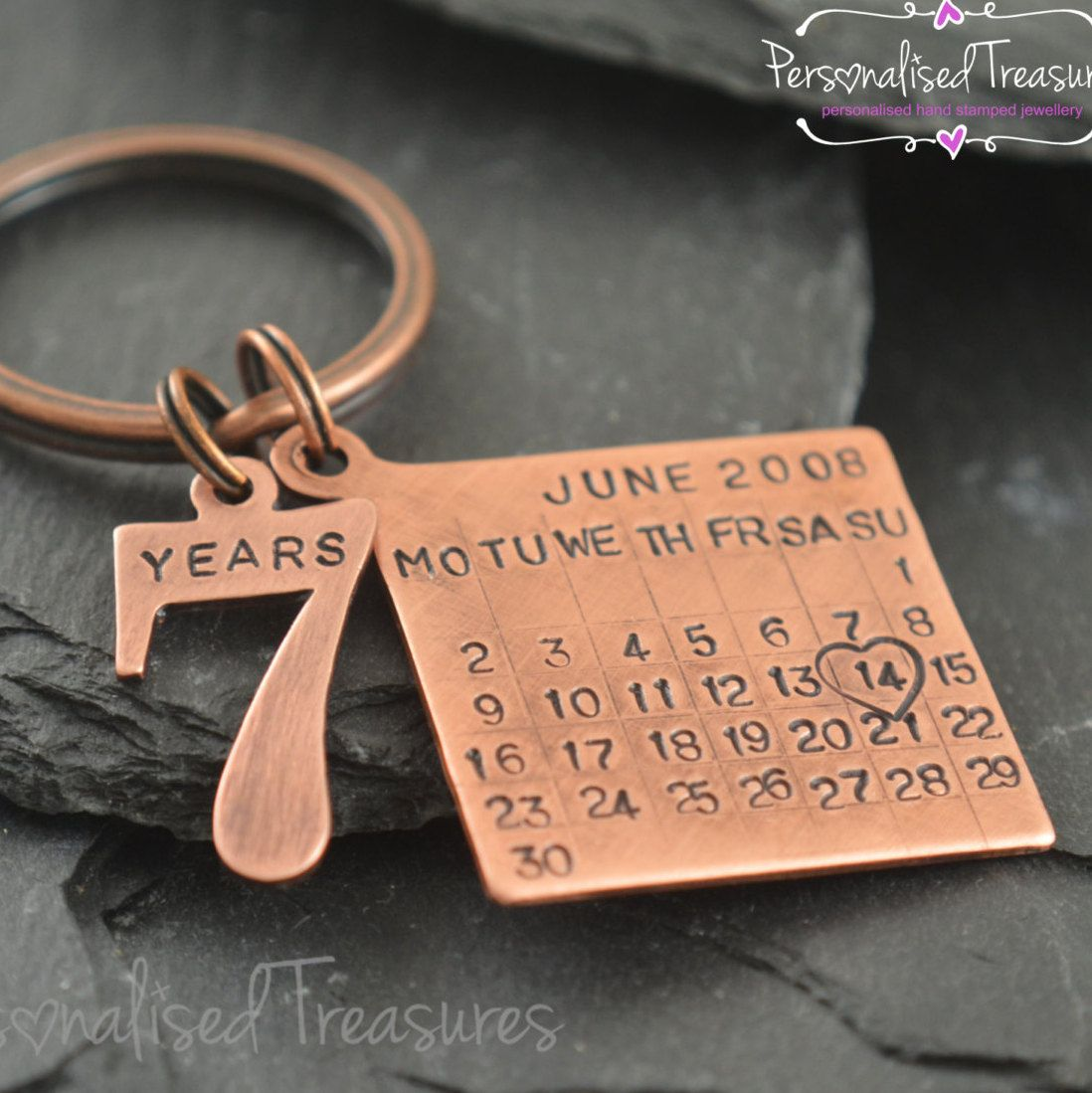 Personalised Key Ring Date Tag Calendar Charm With Number 7 Years Charm Solid Copper Gift For 7th Wed Copper Gifts Boyfriend Gifts Copper Anniversary Gifts