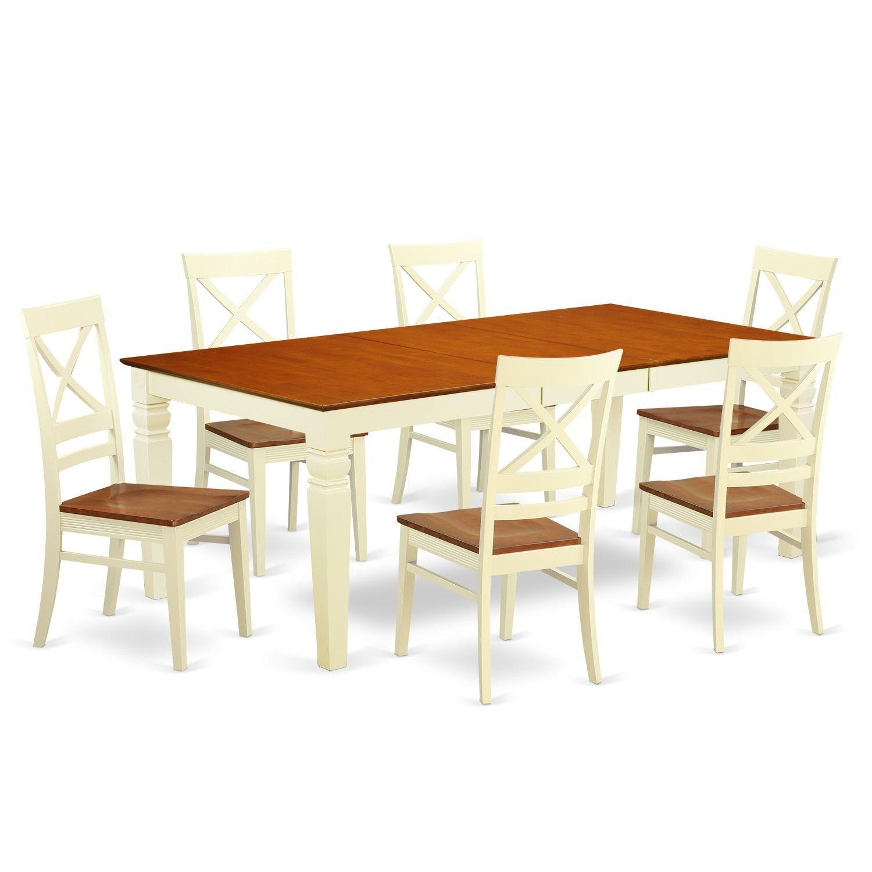 7-piece Kitchen Table Set (White - Off-White Finish) Size  sc 1 st  Pinterest & 7-piece Kitchen Table Set (Black - Black Finish) Size 7-Piece Sets ...