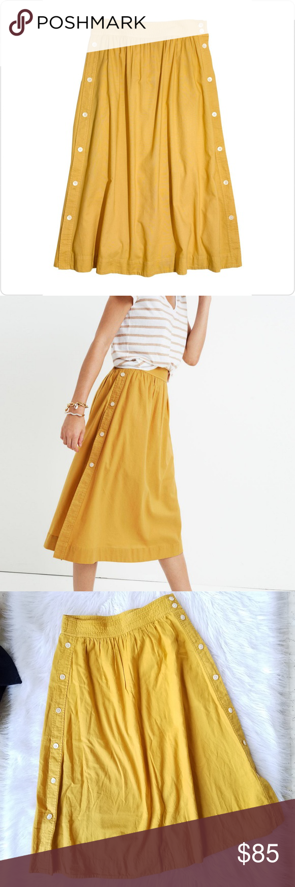 04efea369 Madewell Side Button Skirt Madewell. Women's 2. Side Button Skirt. Color:  Cumin / Yellow. Midi length. Buttons down each side. 100% Cotton.