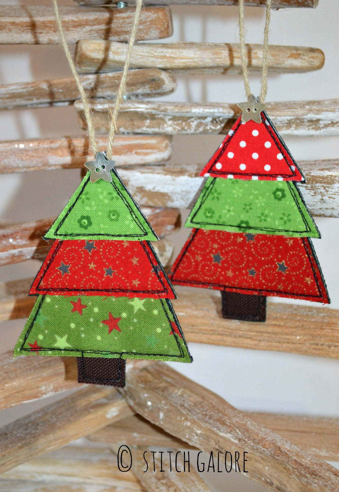 Handmade Christmas tree Christmas decorations. Decorated with embroidery and applique by Stitch Galore. www.stitchgalore.com