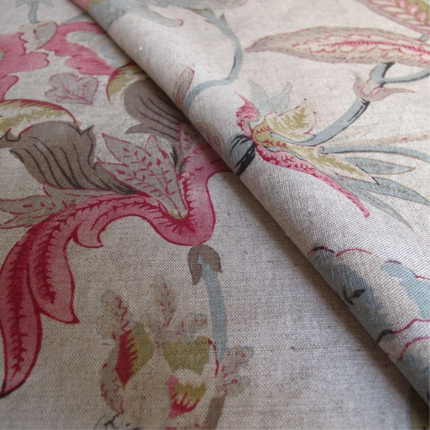 Floral Beige Pink And Mauve Linen Curtain And Upholstery Fabric
