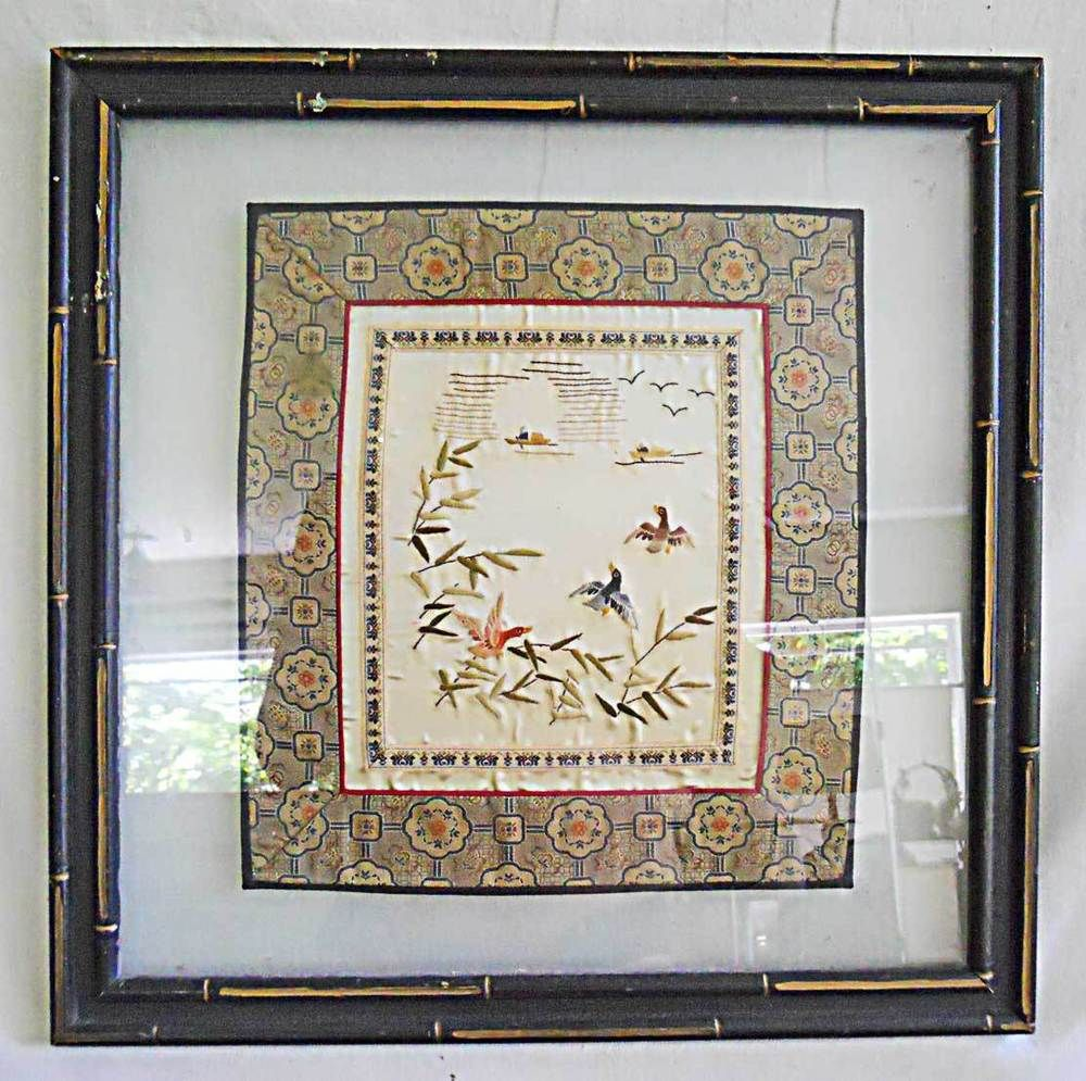 Antique Asian Textile Embroidery Needlework Hunter Ducks Floating ...