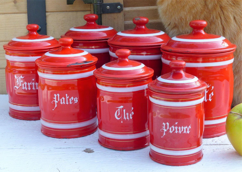 Attirant Vintage Enamelware Kitchen Canisters. (Set Of 7) Granite Ware Kitchen  Canisters. Red U0026 White Kitchen Canister Set. FRENCH VINTAGE By  JadisInTimesPast On ...