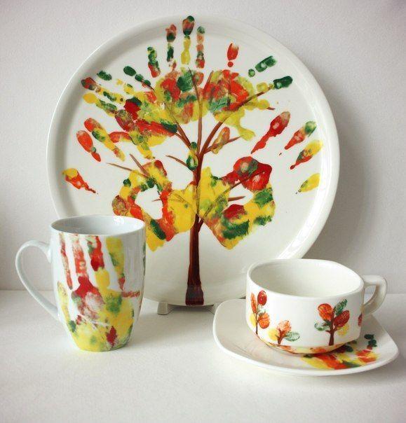 """Купить Комплект посуды """"Генеалогическое дерево"""" - фарфор, ручная роспись, на заказ, фарфоровая посуда"""