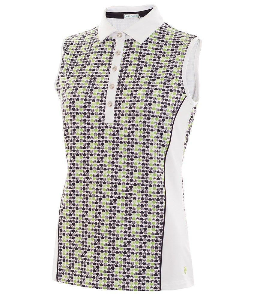 5ace4e202 Green Lamb Ladies Philomena Side Panel Sleeveless Polo Shirt | Green ...