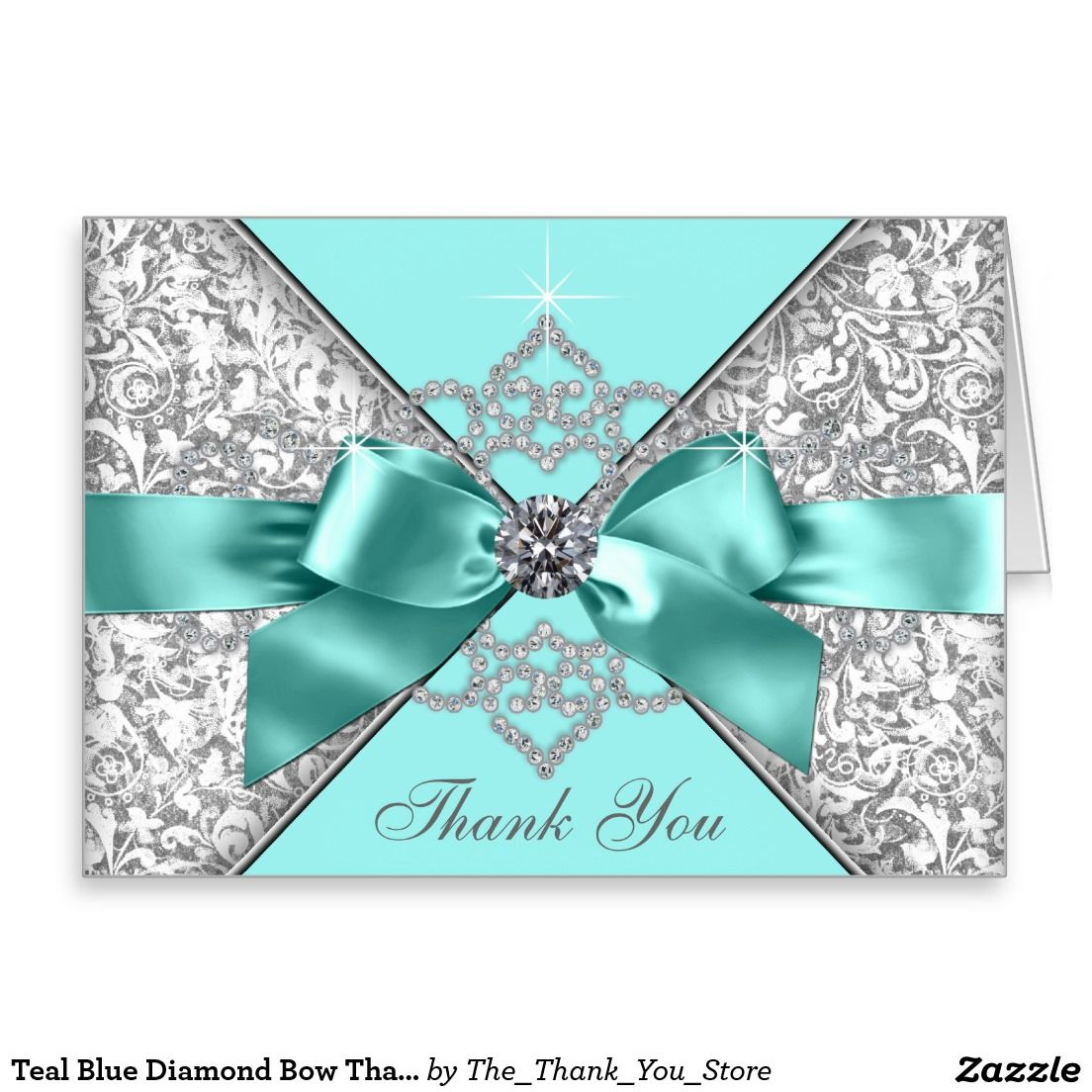 Teal Blue Diamond Bow Thank You Stationery Note Card