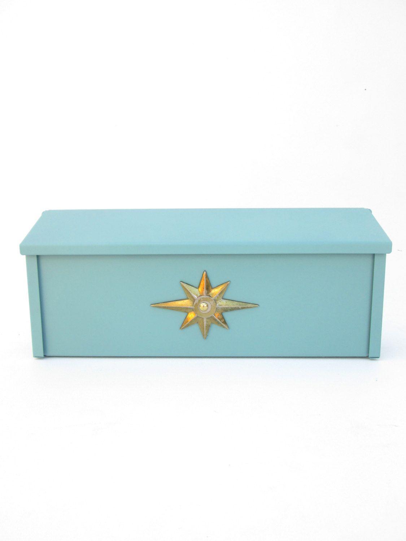 Midcentury Modern Starburst Emblem Metal Mailbox  Retro Blue Horizontal  Wall Mount Postal