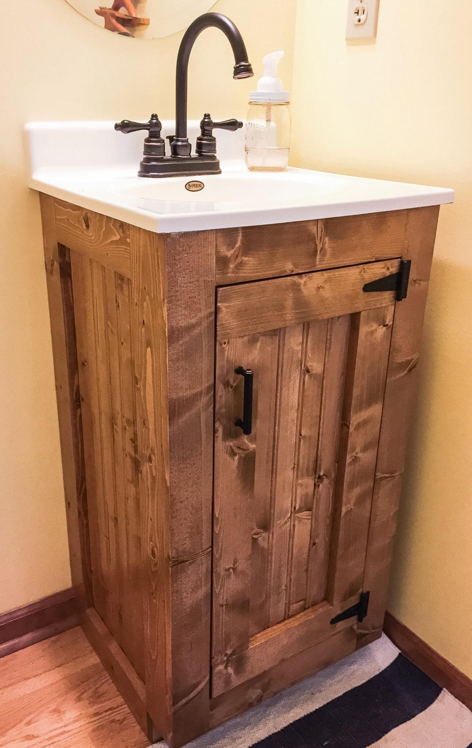 Bathroom Vanity Rustic Small Wood Cabinet With New England Etsy Bathroomdesign Standards Rustic Bathroom Vanities Country Bathroom Vanities Country Bathroom
