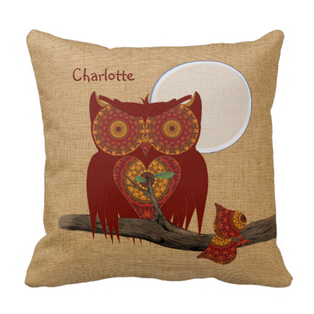 Cute Big Eyed Night Owl Personalized Throw Pillow Night owl, Throw pillows and Pillows