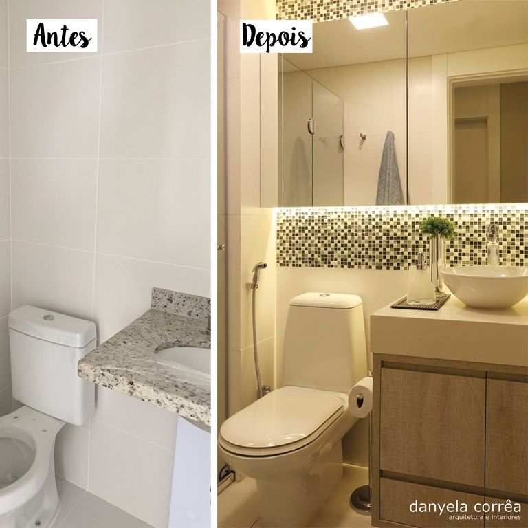Antes e Depois Banheiro com pastilhas, gabinete madeira, bancada em pedra, cu -> Altura Do Armario De Banheiro