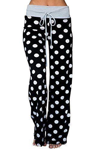 35e059d7e40e AMiERY Women's Comfy Pajamas Pant Striped Polka Dot High Waist Wide Legs  Casual Palazzo Pants #pajamas #pants #clothing