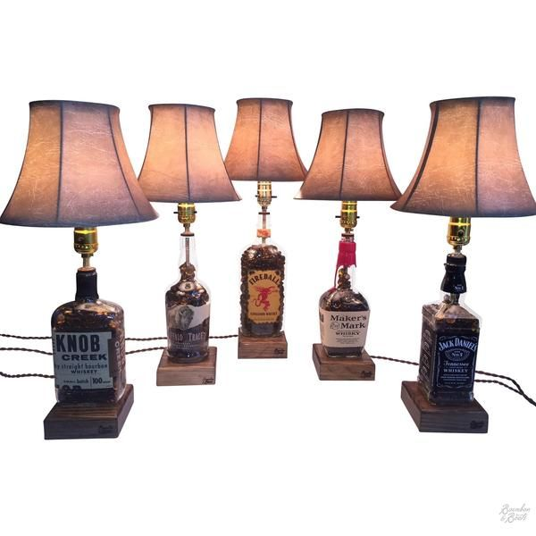 Our Newest Creation Unique Table Top Lamps Made From Bourbon Whiskey Bottles Complete With Shade And Lamp Ready To Use See All Here Goo Gl U1sj2e