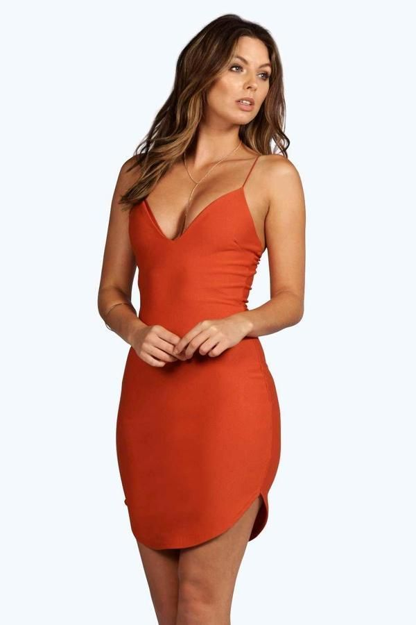 252e6c933e525 boohoo Christel Curved Hem Strappy Bodycon Dress | My Style ...