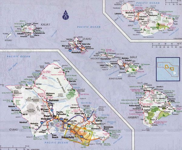 hawaii map usa Large detailed road map of Hawaii Islands with all