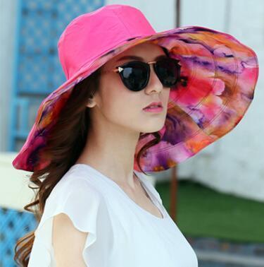 9597f692d90 GEERSIDAN 2018 Summer large brim beach sun hats for women UV protection sun  caps with big