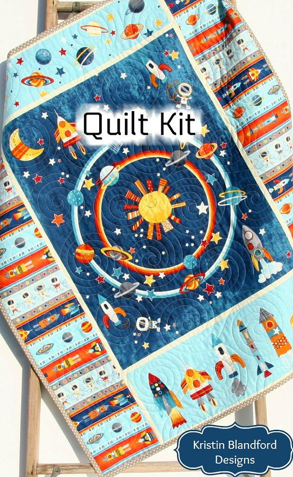 Space Quilt Kit Baby Blanket Panel Quick Easy Boy Baby Bedding