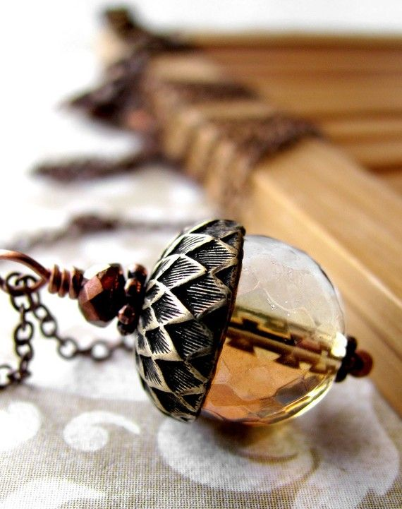 :: Crafty :: Bead :: Vintage Style Acorn Necklace Honey Faceted Glass by ShySiren