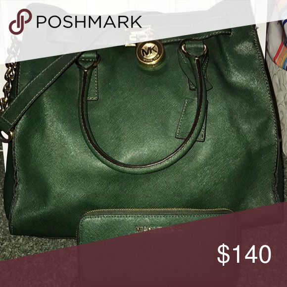 f59024ee585f Michael Kors Large Hamilton Satchel Dark green MK bag with matching wallet!  Great color for fall! Michael Kors Bags Satchels