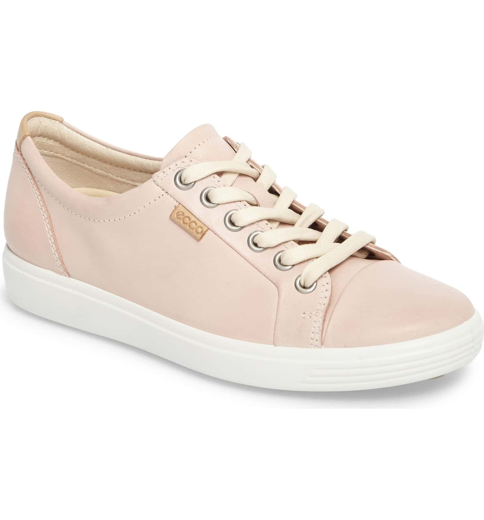 Soft 7 Sneaker Main Color Rose Dust Leather Ecco Shoes Women Womens Sneakers Comfortable Walking Shoes
