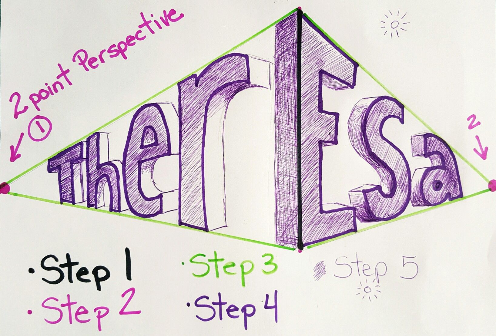 2 Point Perspective Name Directions Art Ed Central