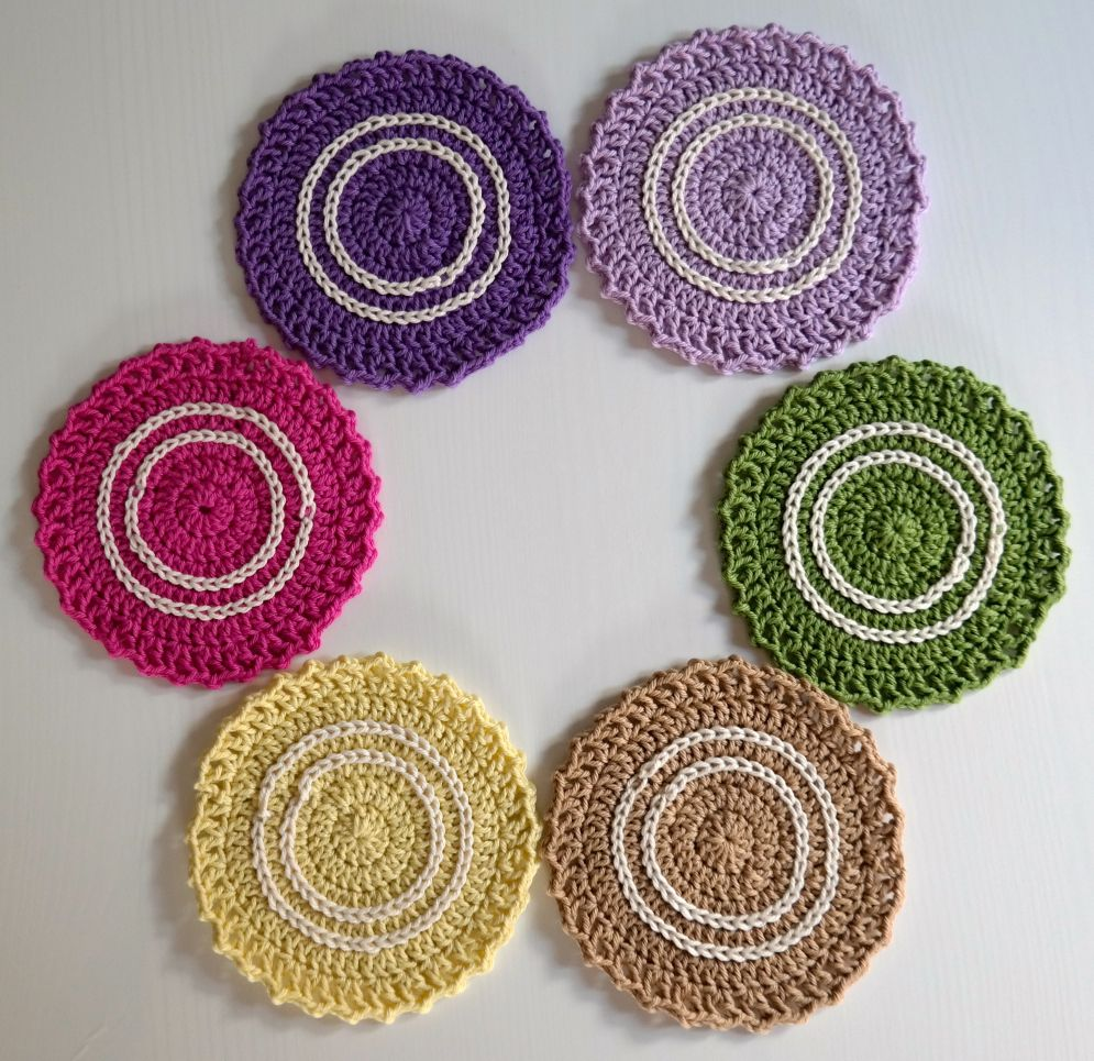 Coasters made with lion brand bonbons yarn so cute crochet coasters made with lion brand bonbons yarn so cute bankloansurffo Images
