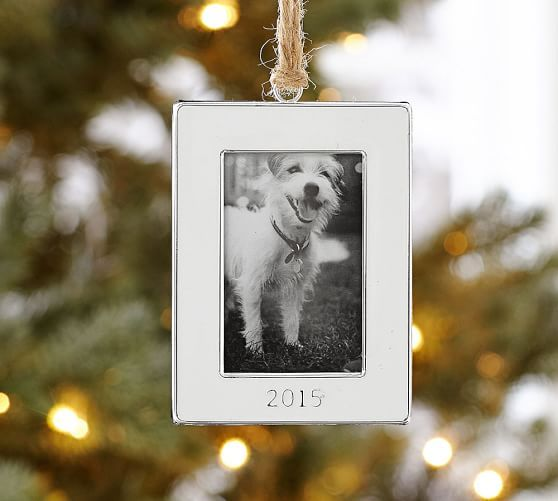 2015 Dated White Enamel Frame Ornament  Pottery Barn  Christmas