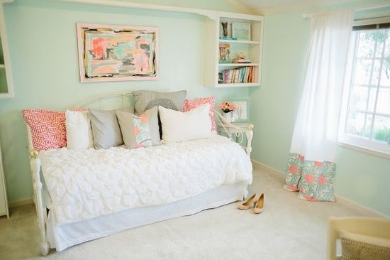 peachy bedroom ideas for adults. This is what I want our guest bedroom to look like  Michaela Noelle Designs Mint Peachy Pink My Bedroom Tour Reveal mint and peach thinking about this color scheme for my new