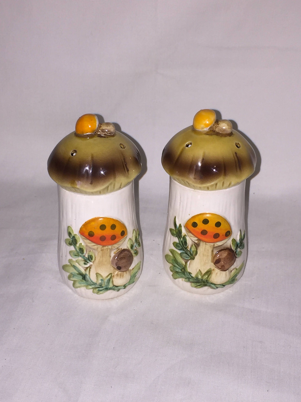 Ceramic Mushroom Salt N Pepper Shaker Set By Arnelu0027s Mold Pottery; Dining/Serving  Set