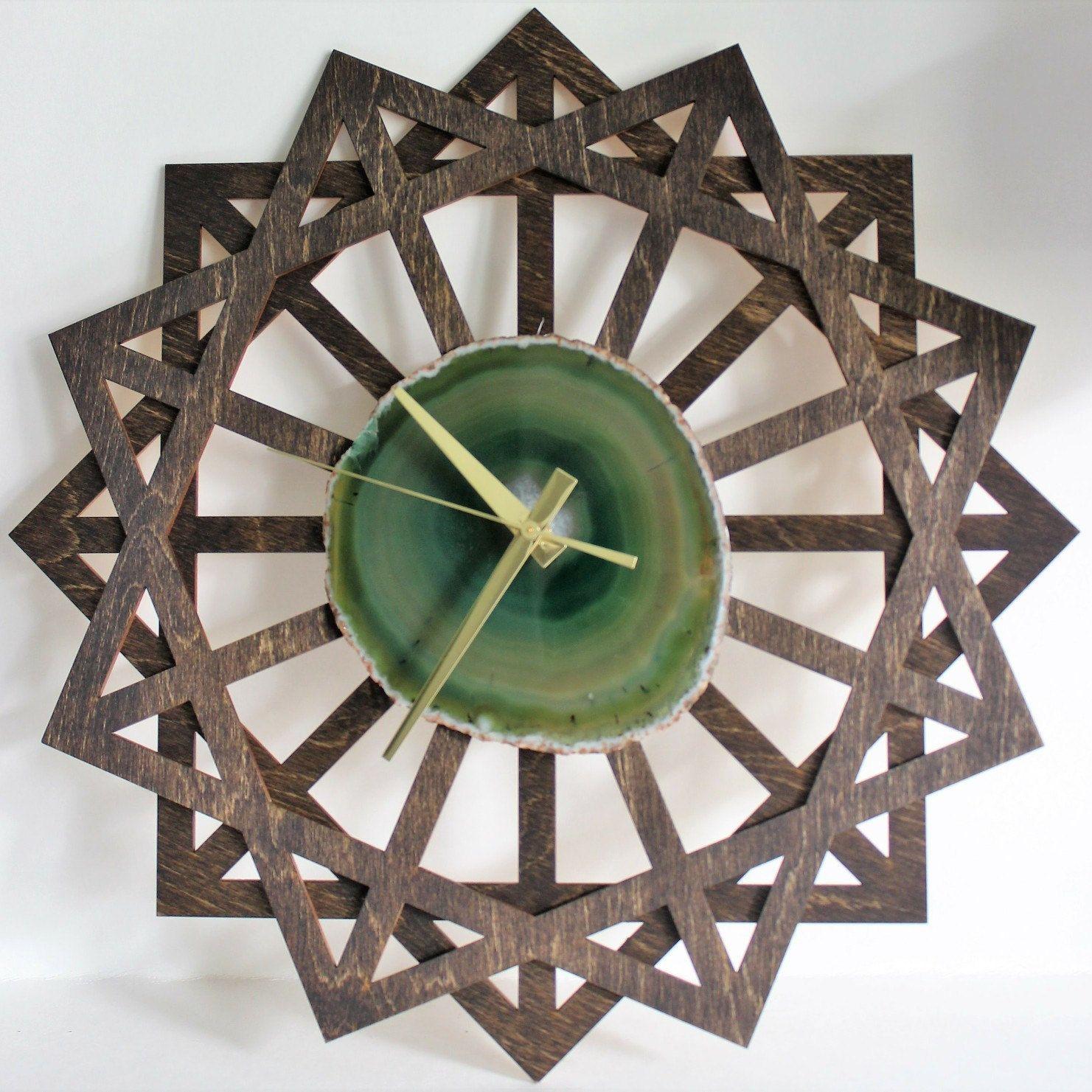 Superb HELLO Gorgeous Sunburst Green Agate Wall Clock!