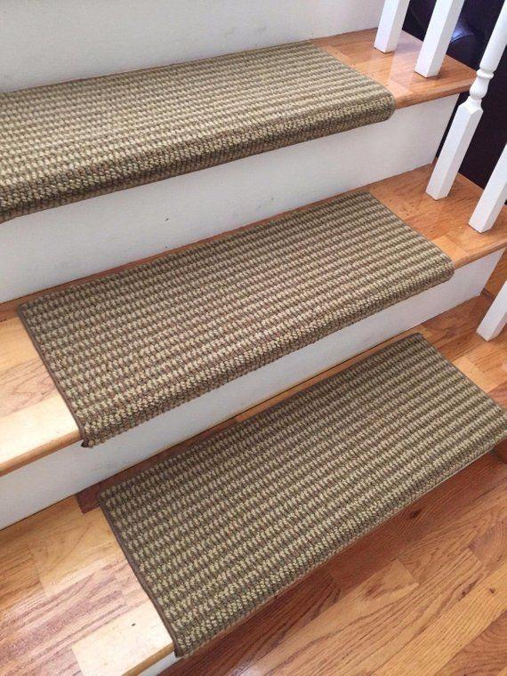 Best San Marco Terrace Sage 100 New Zealand Wool True Bullnose™ Padded Carpet Stair Tread Runner 400 x 300