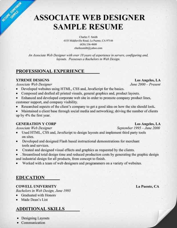 Resume Sample Associate Web Designer Resume Samples Across All - associate web designer resume