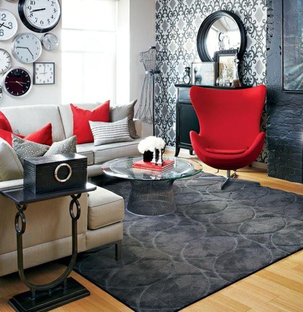 rote sessel schwarze akzente tapeten wanduhren kreative wandgestaltung home pinterest. Black Bedroom Furniture Sets. Home Design Ideas