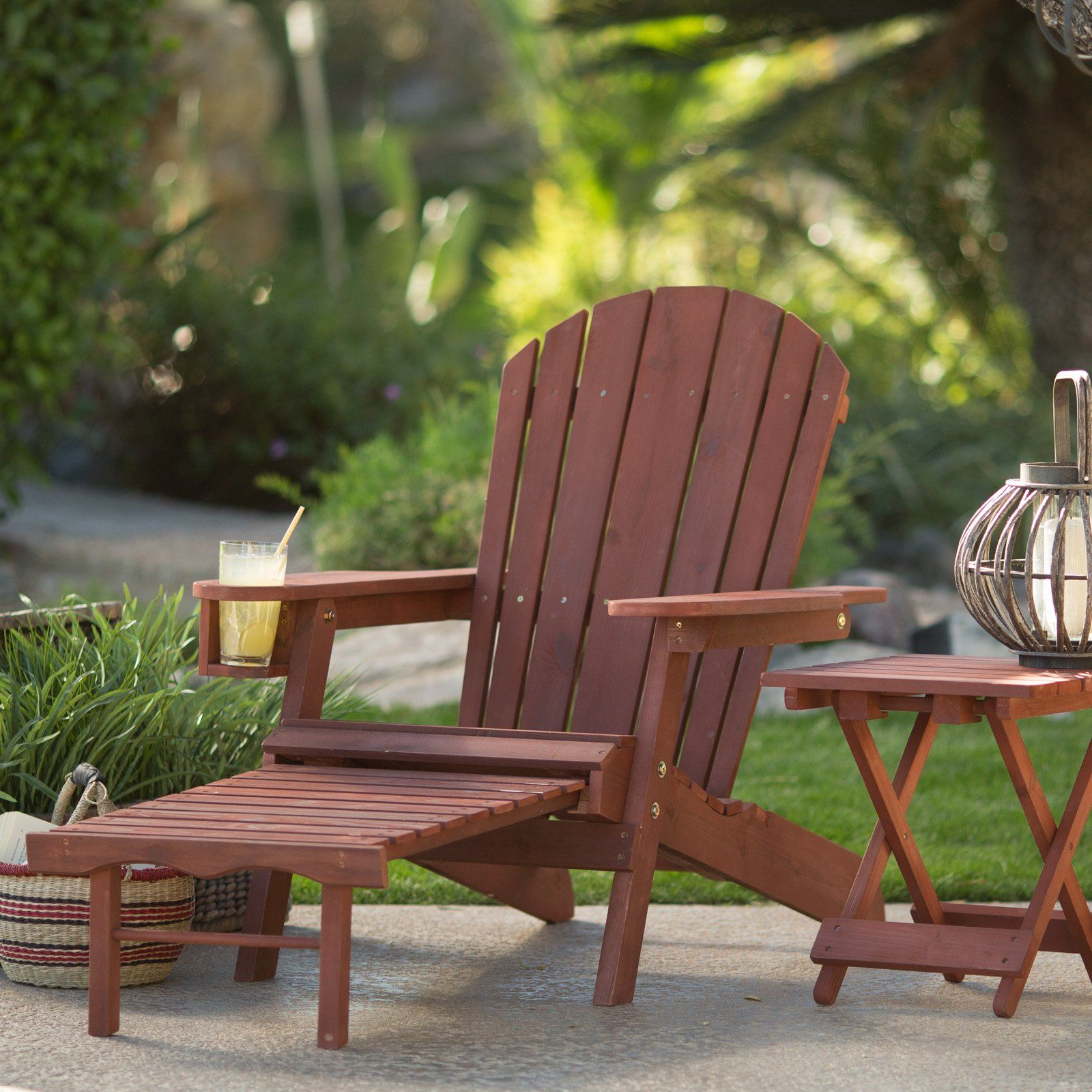 coral coast big daddy adirondack chair with pull out ottoman and cup