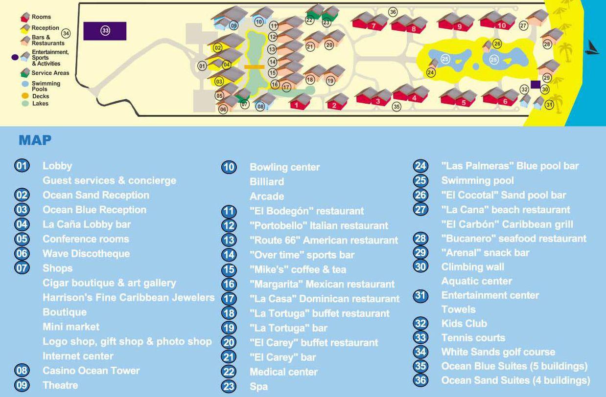 Map Layout Ocean Blue Sand Resort Sands Resort Punta Cana Resort Ocean Blue Resort Punta Cana