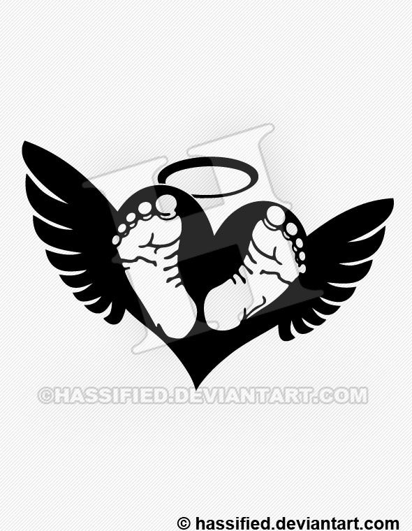 Baby Footprints on Heart with Wings - printable, vector ...