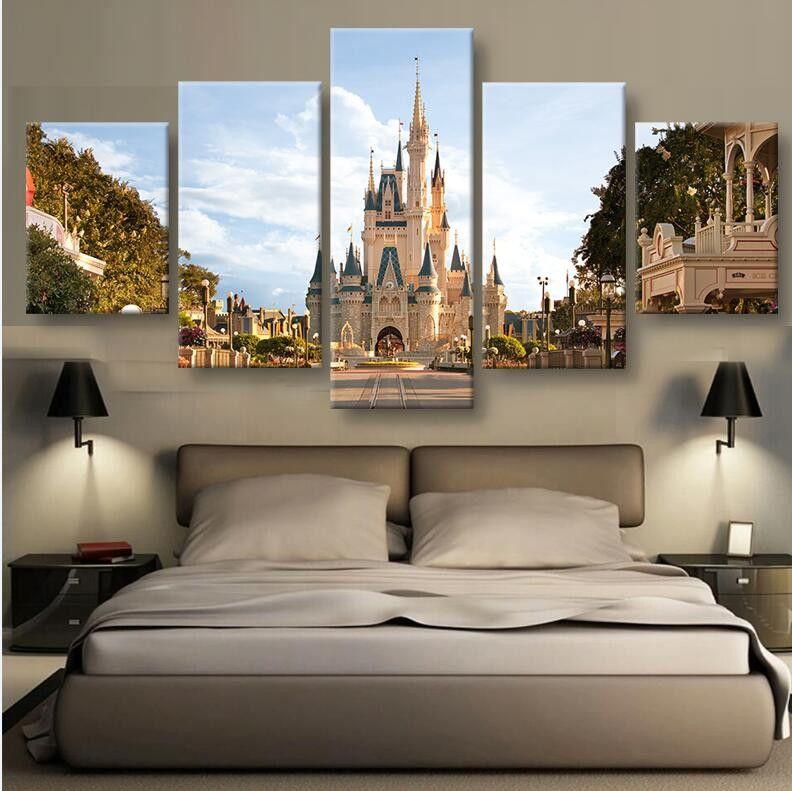 Disney World Castle Hq 5 Piece Art Canvas Print Disney Home Decor Disney Rooms Disney Home