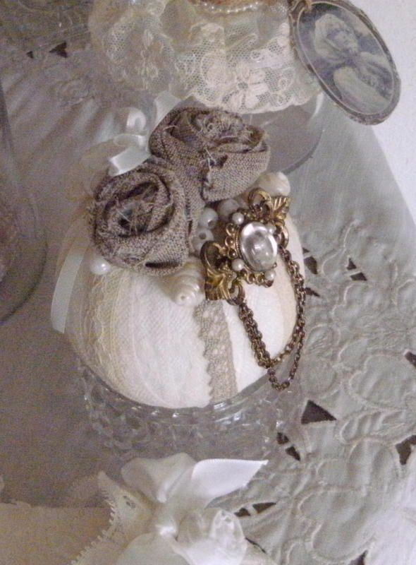 ball with lace and fabric roses
