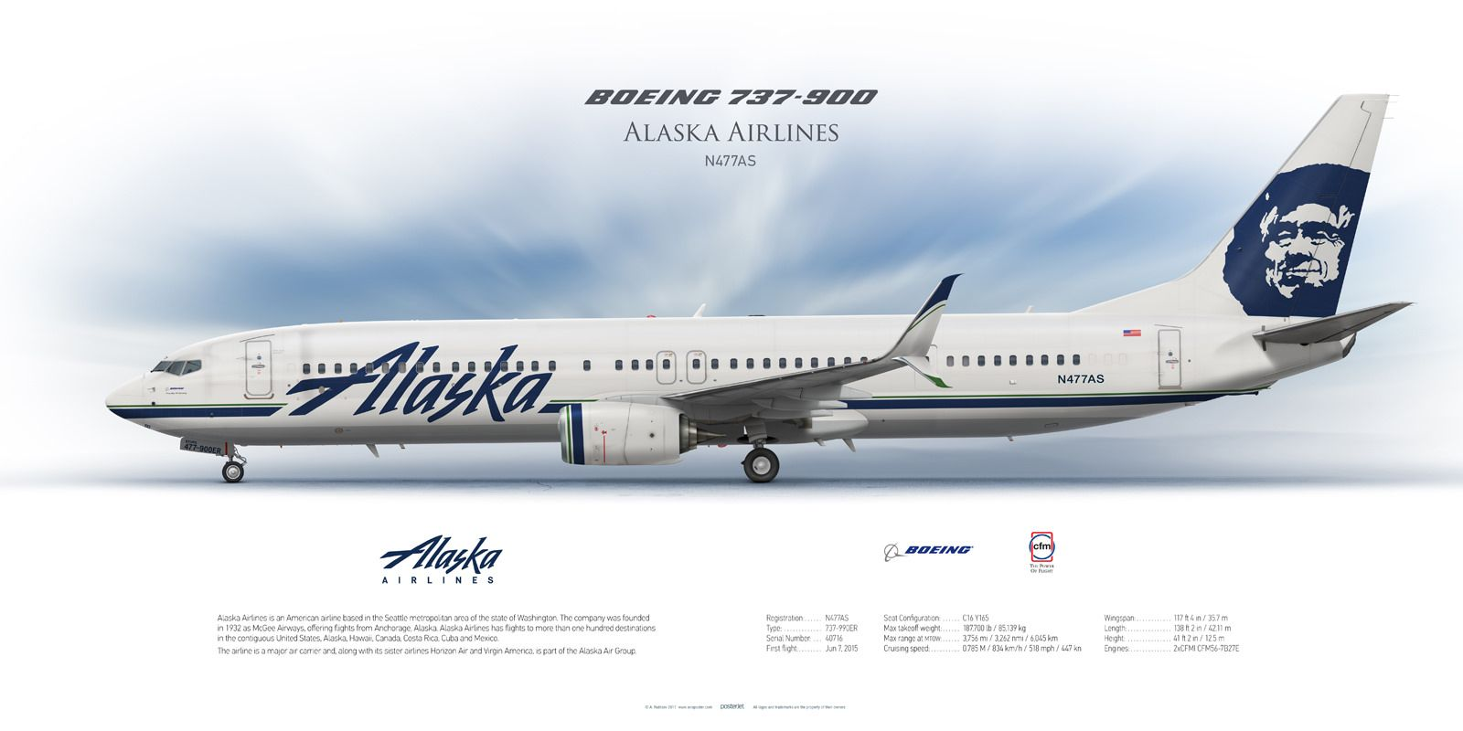 Co color art printing anchorage alaska - Boeing 737 900 Alaska Airlines N477as Airliner Profile Art Prints Www Aviaposter