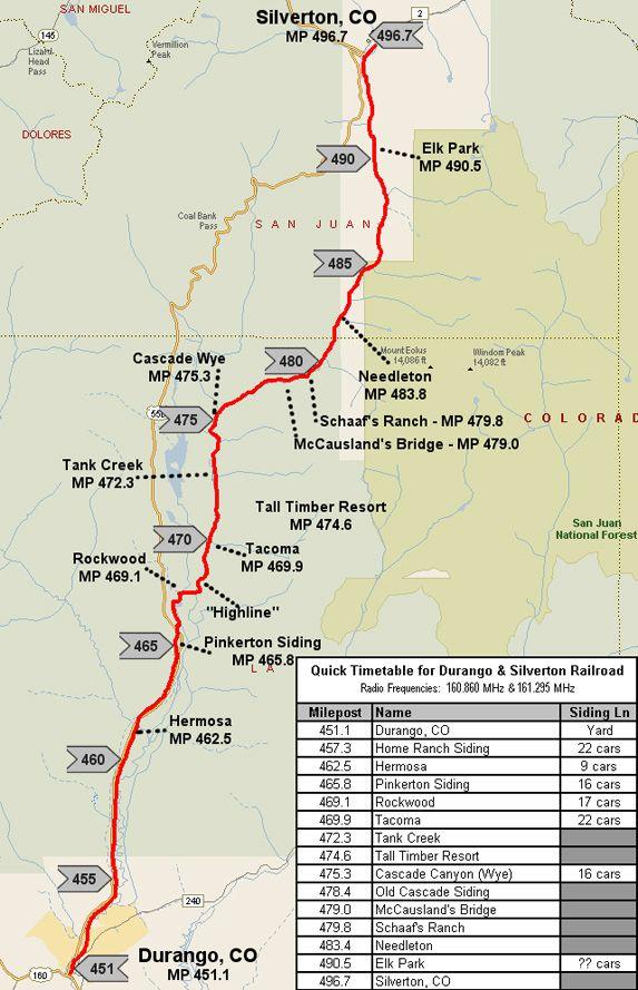 Durango And Silverton Narrow Gauge Railroad Route Map