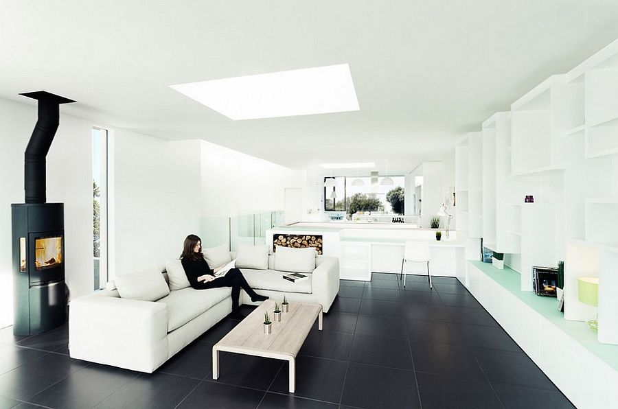 Stylish minimal living room with black tile