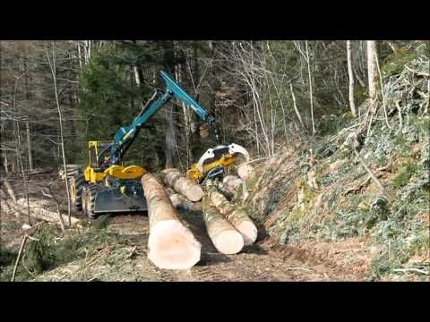 HSM Forwarder 208F steep slope with clambunk - YouTube