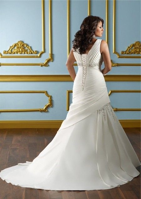 608b946594 A Line V Neck Empire Waist Ruched Satin Plus Size Wedding Dress Corset Back