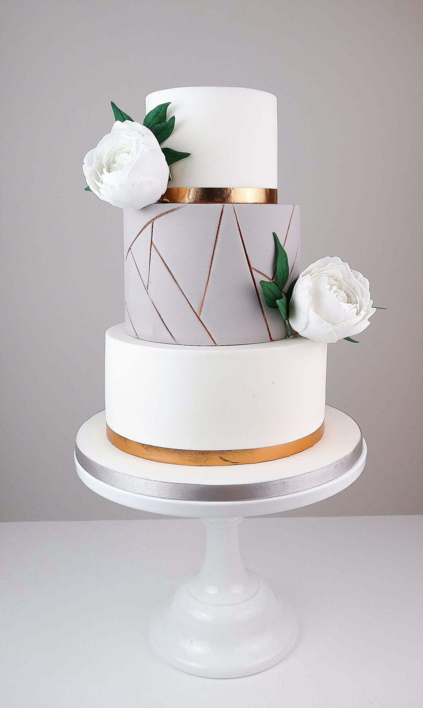 16 Geometric Wedding Cakes We've Got Floating Layers