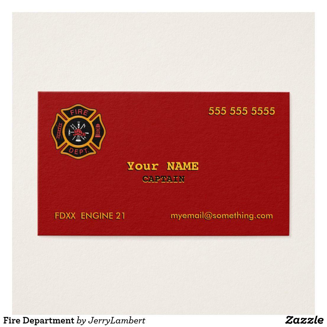Fire Department Business Card Firefighter Business Cards