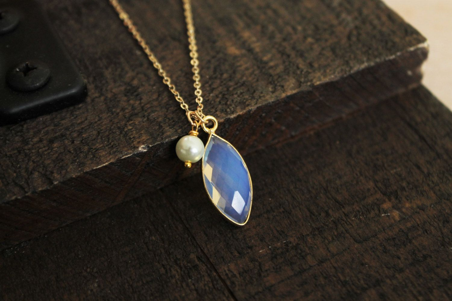 Dainty Opalite and Fresh Water Pearl Necklace. Gold Opalite Marquis Bezel and Pearl Layering Necklace. by EveilleJewelry on Etsy