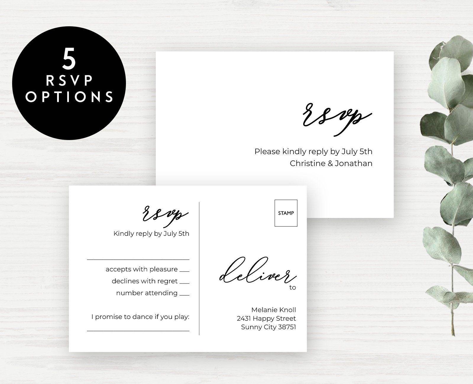 Printable Wedding Rsvp Card Template Wedding Rsvp Postcard Editable Wedding Response Card Ki Wedding Rsvp Postcard Wedding Response Cards Rsvp Wedding Cards
