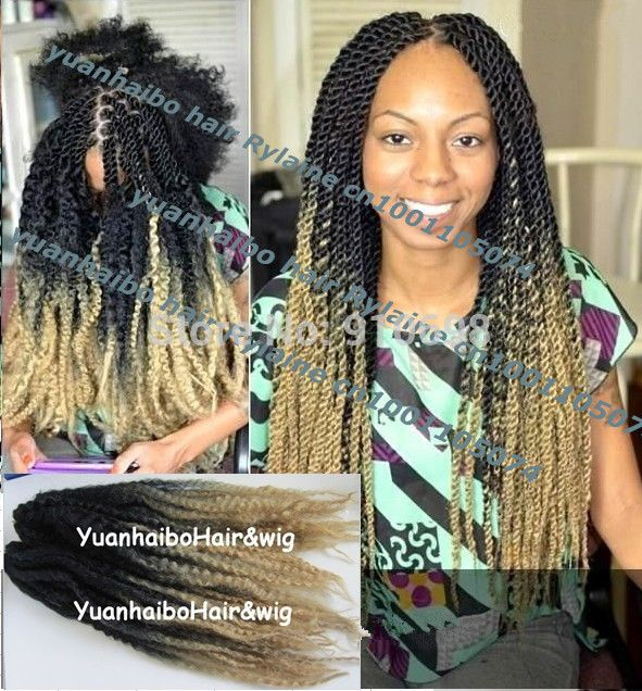 Stock Factory Price 20inch Folded Black Blonde Two Tone Ombre Kanekalon Synthetic Marley Twist Braids Free Shipping