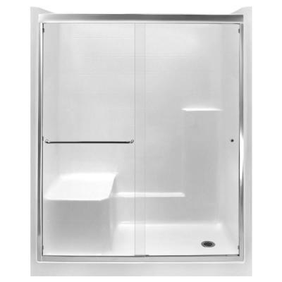 Ella Standard 60 in. x 33 in. x 77 in. Right Drain Alcove 1-Piece Shower Stall in White with Left Seat, Chrome Sliding Door #framelessslidingshowerdoors